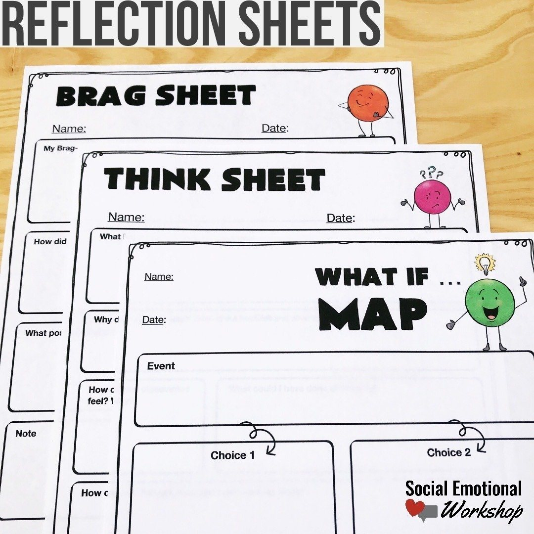 behavior reflection sheets for students