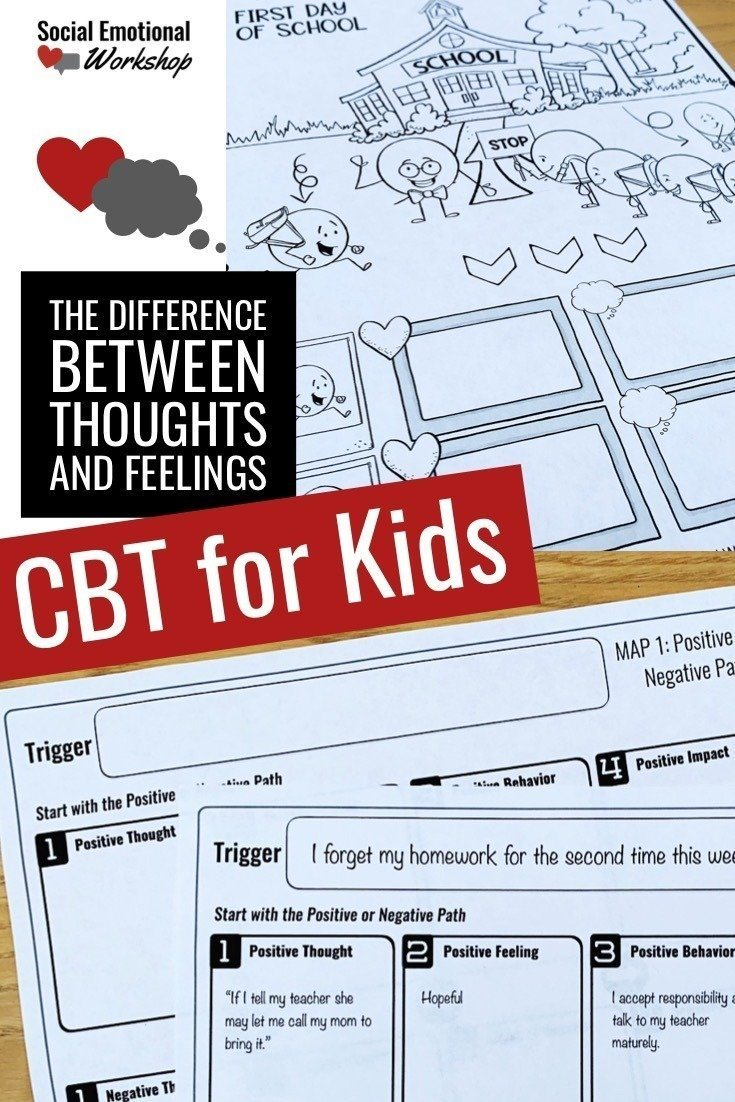 CBT activities that help kids understand the difference between thoughts and feelings